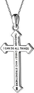 Cruz Jesús Damas joyería collar plateado regalo plata 46 cm Navidad