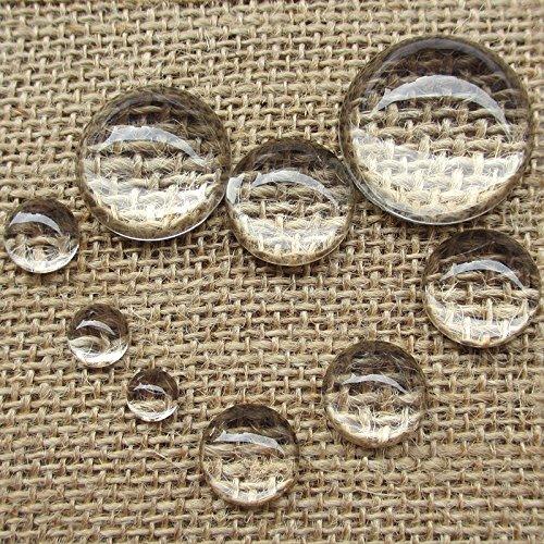 Upick Lot de 30 cabochons ronds en verre transparent 9 tailles, claire, 20 mm