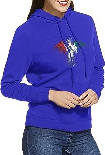 KimiPop Women Long Sleeve USA India Flags Eagle Funny Sports Hoody