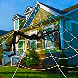 """UNGLINGA Outdoor Halloween Spider Web + 59"""" Giant Spider Decorations for Indoor Scary Halloween Decorations Yard Home Costumes Parties Haunted House Décor"""