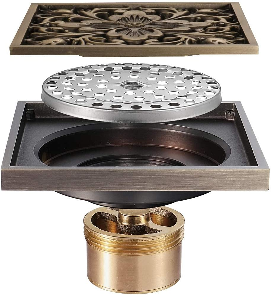 Colorado Springs Mall Bathroom Shower Floor Drain Antique Sho Grate Square Brass Cover Quality inspection