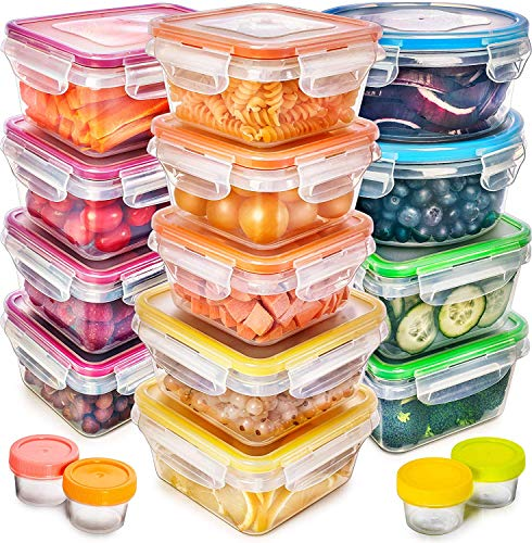 Fullstar Food Storage Containers with Lids - Plastic Food Containers with Lids - Plastic Containers with Lids Storage 17 Pack - Plastic Storage Containers with Lids Food Container Set BPA-Free
