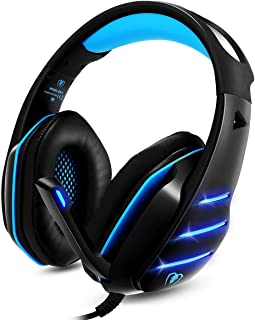 Cocar Gaming Headset GM-3, Gamer Headphones Black-Blue, 3.5mm Wired Stereo Sound Over-Ear Headphone with Noise Isolation M...