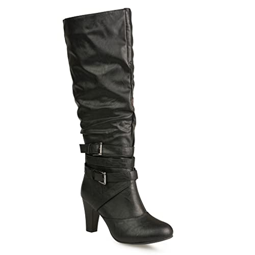 0a1329336ce2 Twisted Women s Hailey Faux Leather Wide Calf Knee-High Western Heeled  Riding Boot with Multi