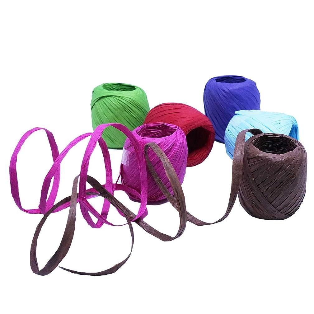 6 Rolls 20M Raffia Ribbon Paper String Paper Twine Kraft Paper Raffia String Gift Wrapping Packaging Decorations