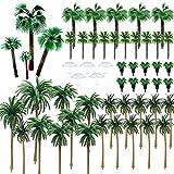 Woohome Árboles en Miniatura 44 Pz Palmeras de Coco Modelo de Árbol Palmera con 5 Pz Mini Paraguas para El Modelo de Tren Ferroviario Arquitectura Diorama Paisaje de Bricolaje Paisaje