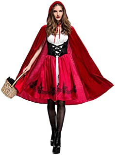 Women Sexy Little Red Riding Hood Costume Adult Halloween Party Fancy Dress +Cloak Cosplay Costume