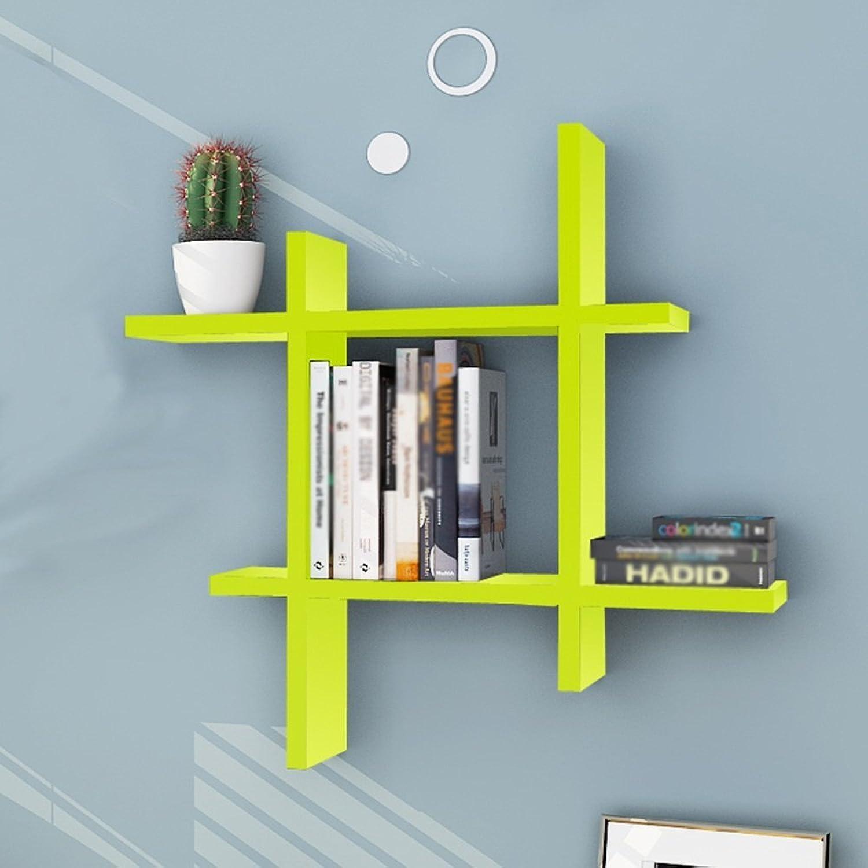 Chunlan Bookshelf Creative Bookshelf Wall-Mounted Living Room Bedroom Study Shelves Background Wall Decorative Frame 55  15cm (color   Green)