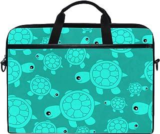 Ahomy Ahomy Laptop-Tasche, 35,6 cm 14 Zoll, lustige süße Meeresschildkröte, Türkis am Strand, Segeltuch, Laptoptasche, Handtasche mit Schultergurt für Damen und Herren