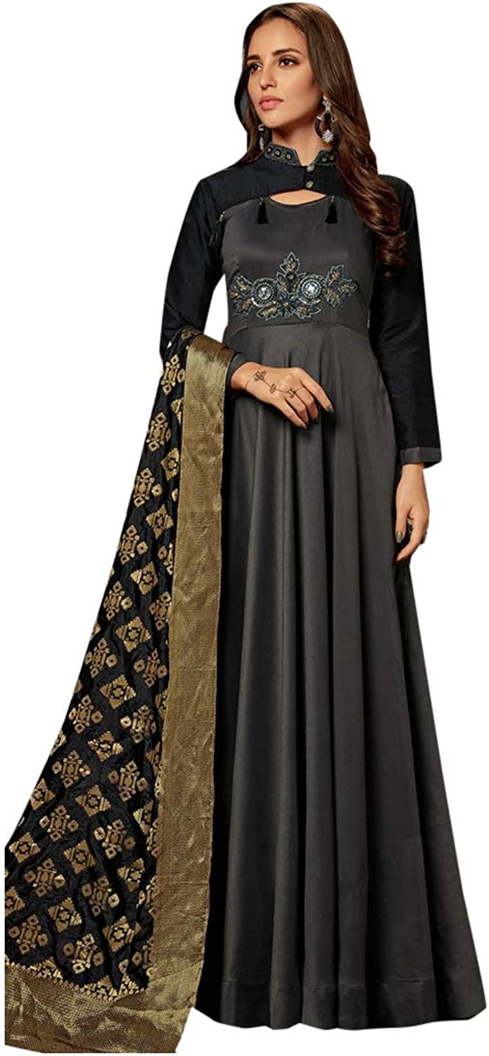 Hit Grey Embroidered Anarkali with jacquard Dupatta Suit Collection 7390