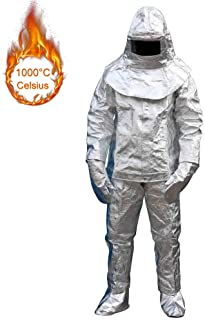 Zinnor Aluminum Foil Heat Resistant Fireproof Clothing,1000 Degree Centigrade Fire-proof Suit Inflaming Retarding Suit Full Set Include 1 Coat, 1 Pant,1 Helmet, 1 Glove, 1 Boot Cover,L