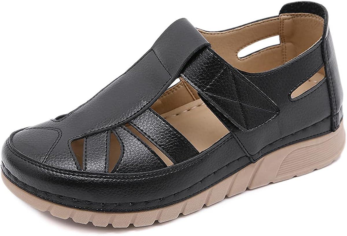 Govicta Women's Sandal Closed Toe PU Leather Vintage Summer Casual Non-Slip Beach Platform Shoes Sandals