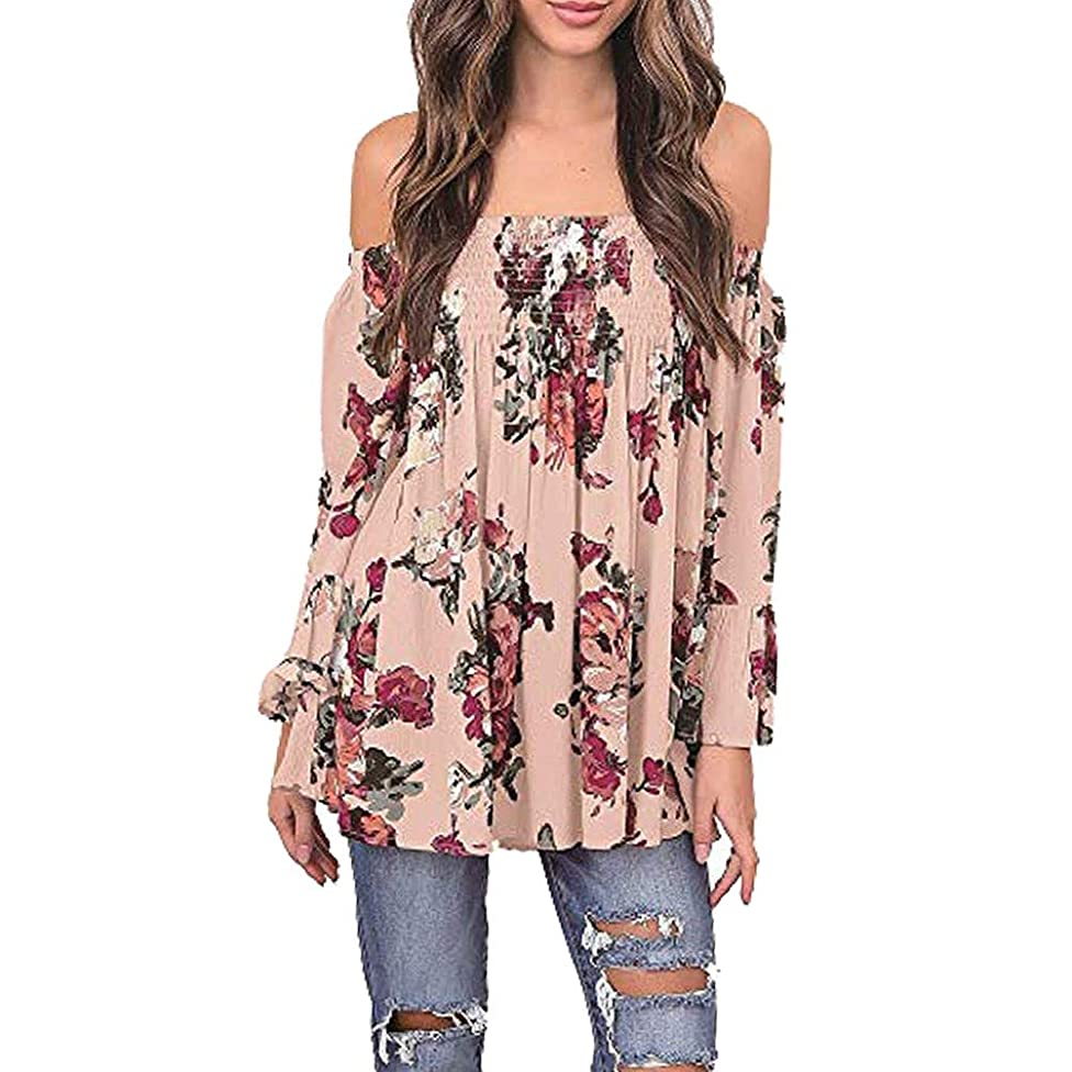 Women Blouse, 2018 Summer Off Shoulder Floral Printed Plus Size Casual Long Bell Sleeve Tops T Shirt