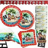 Lot de 102 Pièces de Fête Pirate Comprenant Bannière Assiettes Tasses Serviettes de Table Nappe, pour 25 Personnes