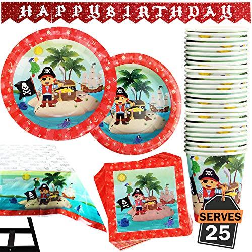 Kompanion 102-teiliges Piraten Party Teller Set mit Banner, Tellern, Tassen, Servietten, Tischtüchern, für 25 Personen
