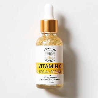 Serum Vitamin C Face 20%, Vitamine C gezicht serum met 24K goud, hyaluronzuur, vitamine E - Dermaroller Geschikt, Anti-agi...