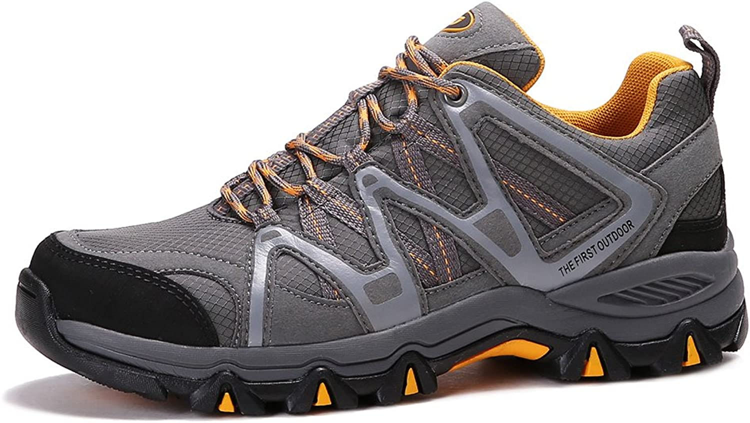 TFO Men's Breathable Walking Hiking shoes Outdoor Running Backpacking Athletic Trekking Sneakers(Size 6.5 Grey)