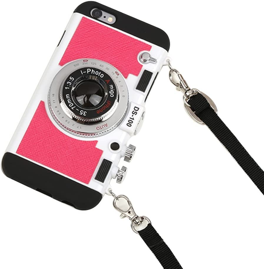 iPhone 8 Case, iPhone 8 Cute Case, 3D Unique Design Camera Case PC + Silicone Shockproof Hybrid Cover Case with Long Strap Rope (Red)