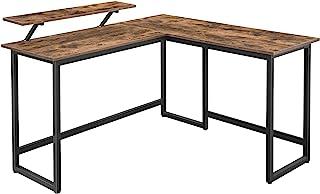 VASAGLE Schreibtisch, L-förmiger Computertisch mit beweglichem Monitoraufsatz, Eckschreibtisch, Büro, Arbeitszimmer, Gamin...