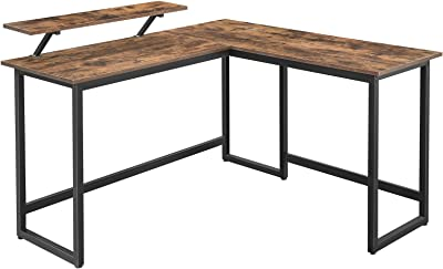 VASAGLE Computer Desk, 55-Inch L-Shaped Corner Desk with Monitor Stand, Study Writing Workstation for Home Office, Gaming, Rustic Brown and Black ULWD56X