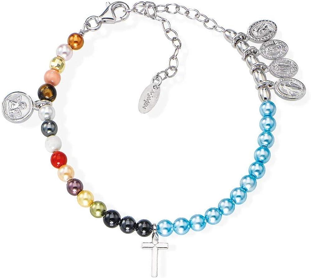 Amen,bracciale unisex, in argento 925 e perle swarovski multicolor BRVIMA