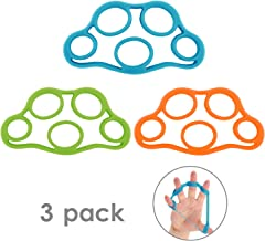 MoKo Finger Stretcher Bands, (3 Pack) Forearm Exerciser Hand Strengthener Finger Extensor Bands for Arthritis Carpal Tunnel Exercise Guitar and Rock Climbing