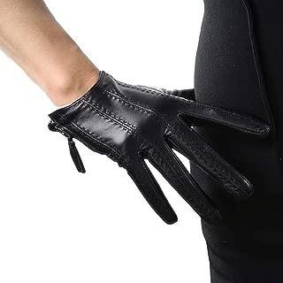 Short Black Touchscreen Real Leather Gloves, Imported Goatskin Leather Tassel Zipper Unique Pop Finger Gloves,size M