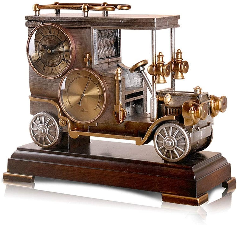 デスククロックファミリークロックヨーロッパレトロ置時計クリエイティブ樹脂デスク装飾時計用リビングルーム寝室用オフィス