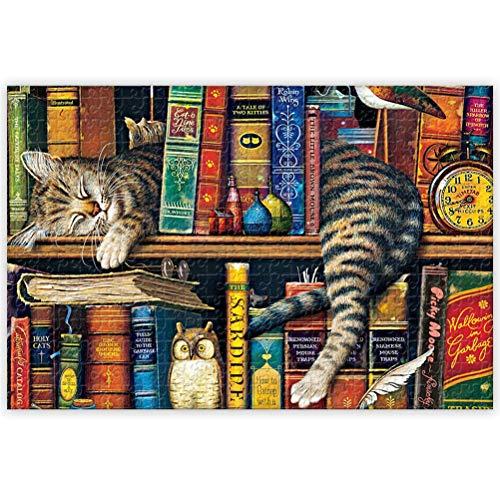 CaCaCook Puzzle 1000 Stück für Erwachsene, Die Katze im Regal Puzzles Puzzles Intellektuelle Dekomprimierung Spaß Familienspiel Großes Puzzle Adult Kid Game Spielzeug Geschenk