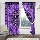 Sophia-Art Juego de cortinas de ventana con estampado de elefante hippie indio y cenefa, tapiz de dormitorio, cortina india para balcón, decoración de habitación bohemia, juego de cortina hippie