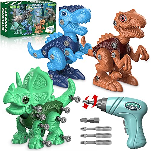 Dinosaur Toys for 3 4 5 6 7 Year Old Boys, Take Apart Dinosaur Toys for Kids 3-5 STEM Construction Building Toys with Electric Drill for Kids Ages 3-8, Dinosaur Toys Birthday Easter Gifts Boys Girls