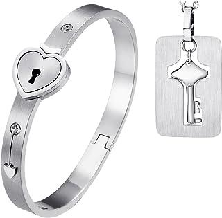 oidea braccialetto collana di coppia con serratura Cuore Chiavi Bracciale LOVE in acciaio inox gioielli di moda regalo di ...