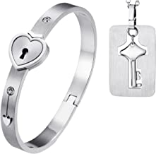 Oidea His Hers Love Heart Key Lock Macthing Bangle Bracelet Tag Pendat Necklace, Silver,Roseold for Small Wrist Less Than 6.5 INCH