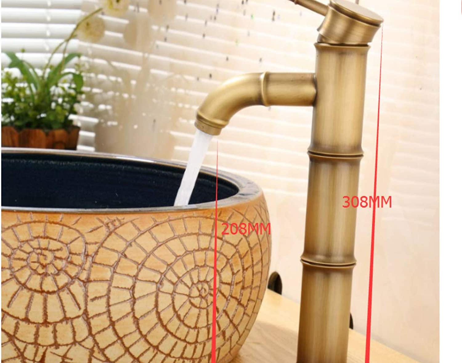 All Copper Bamboo Festival Antique Faucet Table Basin Art Basin Leading Hotel Project Hot and Cold Water Faucet Manufacturers A