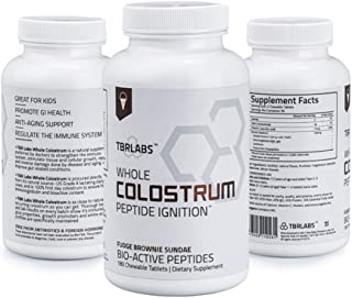 TBR Labs Colostrum (180 Chewable Tablets - 225 mg) Supports Immune System, Gut Health, Promotes Healthy Skin, Hair and Nai...
