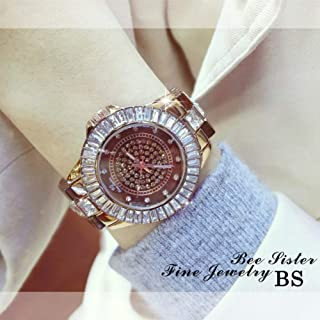 GEDASHAN Women's watch Elegant Women Rhinestone Watch Fashion Steel Ladies Watch Women Dress Quartz Diamond Watch Women Reloj Mujer