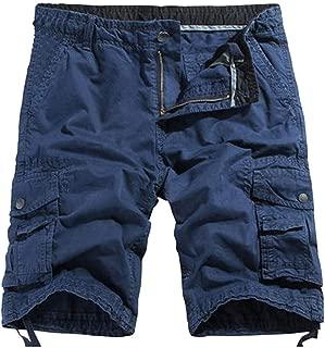 POHOK Men Shorts Loose Summer Mens Fashion Mid-Rise Men's Shorts Casual Multi-Pocket Tooling Pants