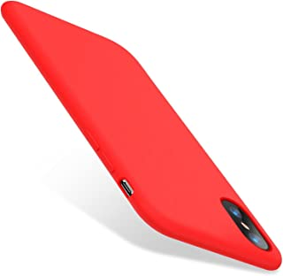 iPhone X Case, TORRAS [Love Series] Liquid Silicone Gel Rubber Shockproof Case with Soft Microfiber Cloth Lining Cushion for Apple iPhone X (2017), Red