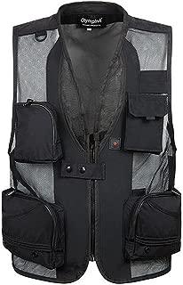 D DOLITY Multi-Pocket Fishing Mesh Vest Photography Quick-Dry Jacket XXXL Black