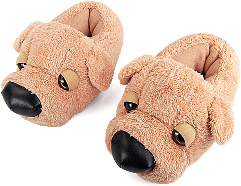 Nafanio Winter Fur Slippers Women Animal Funny Cartoon Dog Indoor Home Flip Flops Warm Plush Furry Bedroom shoes