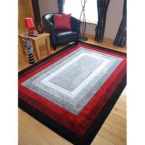 Modern Small Extra Large Sahara Red Grey Border Carved Quality Thick Floor Long Carpet Runner Rugs