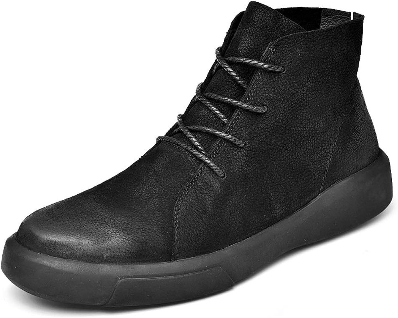 Easy Go Shopping Herren Ankle Work Stiefel Fooling Vintage gebürstet Außensohle Schnüren Winter Faux Fleece Privilegierte High Top Stiefel,Grille Schuhe  | Angenehmes Aussehen