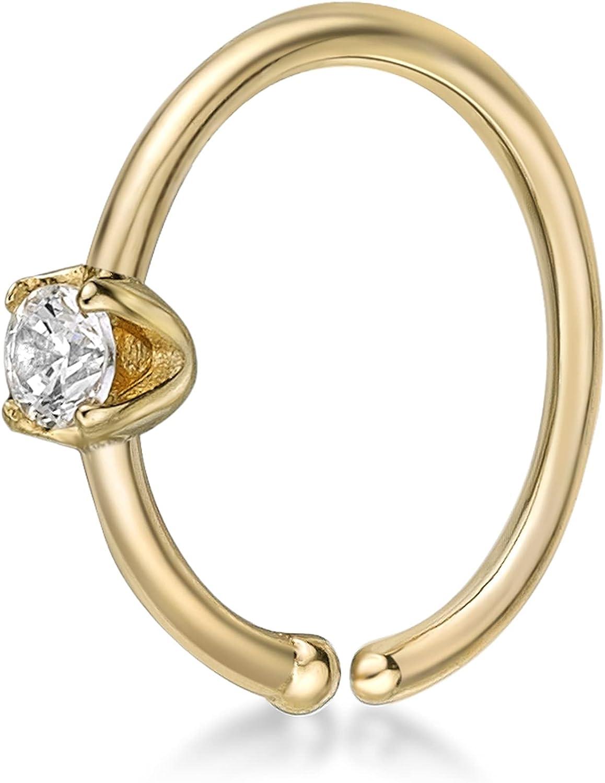 22 Gauge 14K Yellow Gold 2MM Cubic Popularity 16 Hoop Nose Ring Zirconia 5 Detroit Mall