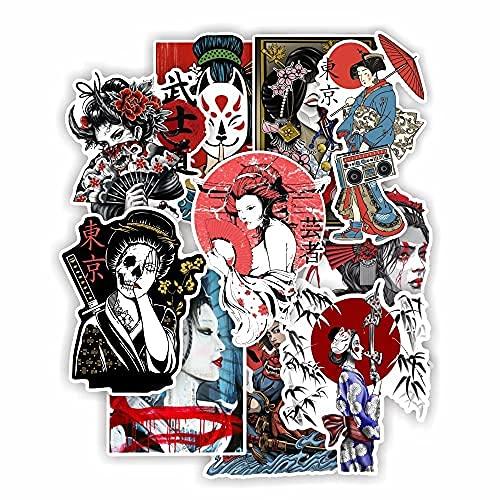 MENGYUE 10 Uds. Pegatinas Impermeables de Geisha Japonesa para portátil, Equipaje, portátil, Taza de Agua, monopatín, Guitarra, Coche, Bicicleta, Pegatinas para niños y niñas
