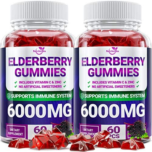 (2 - Pack) Sаmbuсus Elderberry Gummies for Adults Kids Toddlers with Vіtаmіn С & Zіnс - Herbal Supplement for Immune Support, Skin Health - Powerful Antioxidant - 120 Chewable Gummies