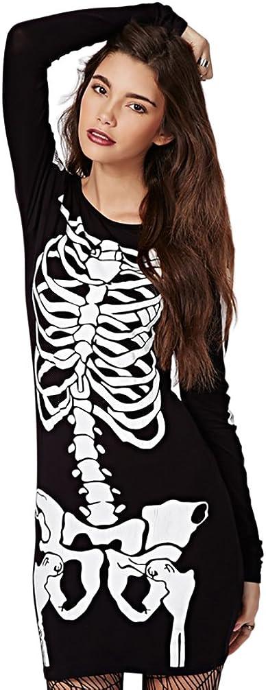 RieKet Super sale period limited Women's Halloween Costume Skeleton Long Dress Sleeves New York Mall Str