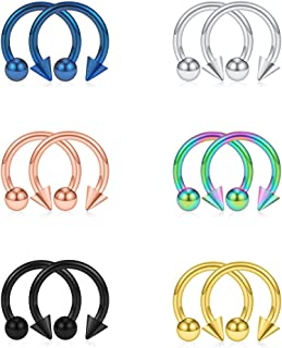 12PCS 316L Stainless Steel 16G Circular Barbells Eyebrow Lip Ear Tragus Horseshoe Hoop Rings 6-12mm
