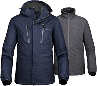 Men's 3-in-1 Ski Jacket - Winter Jacket Set with Fleece Liner Jacket & Hooded Waterproof Shell - for Men