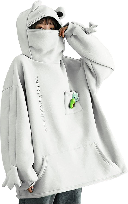 Cute Loose Pullover Teen Girls Stitching Tees Sweatshirt With Big Pocket Fashion Long Sleeve Tshirt