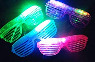 12 Piece Slotted & Shutter Shades Light Up Unisex Flashing Glasses for Adults & Children (5 Assorted Colors: White, Purple, Green, Blue, & Pink)- with Push On/Off Button for All Occasions